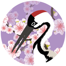 Sticker Grue du Japon et cerisier