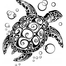 Sticker Tortue de mer et bulles