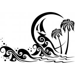 Sticker Tempête et palmiers