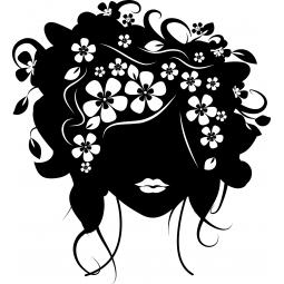 Sticker Portrait femme fleur