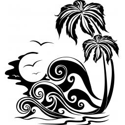 Sticker Palmiers et Vagues