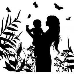 Sticker Femme avec un bébé