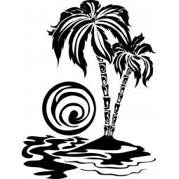Sticker îlot et palmiers