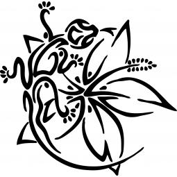 Sticker fleur et salamandre