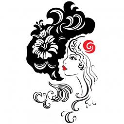 Sticker Femme rouge à...