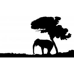 Sticker Éléphant sous un arbre