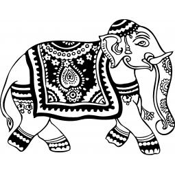 Sticker Eléphant indien décoré