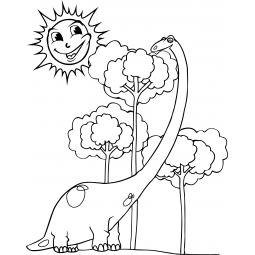 Sticker Diplodocus et arbre