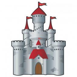 Sticker château fort gris