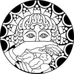 Sticker icône Marie et Jésus