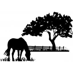 Sticker cheval dans la prairie