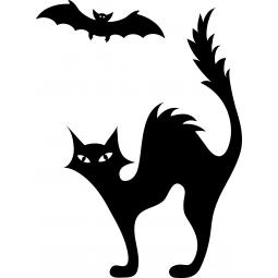 Sticker chat et chauve-souris