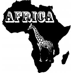 Sticker carte d'Afrique Girafe