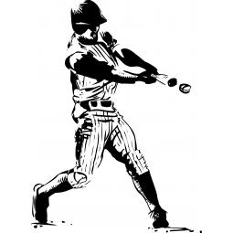 Sticker baseballeur : balle...