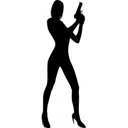 Sticker Femme au pistolet FLUO
