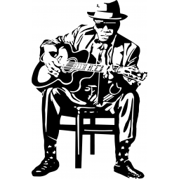 Sticker Guitariste de blues
