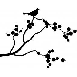 Sticker Merle sur une branche