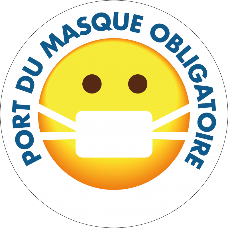Sticker Port du masque obligatoire - smiley - stickers stop covid 19